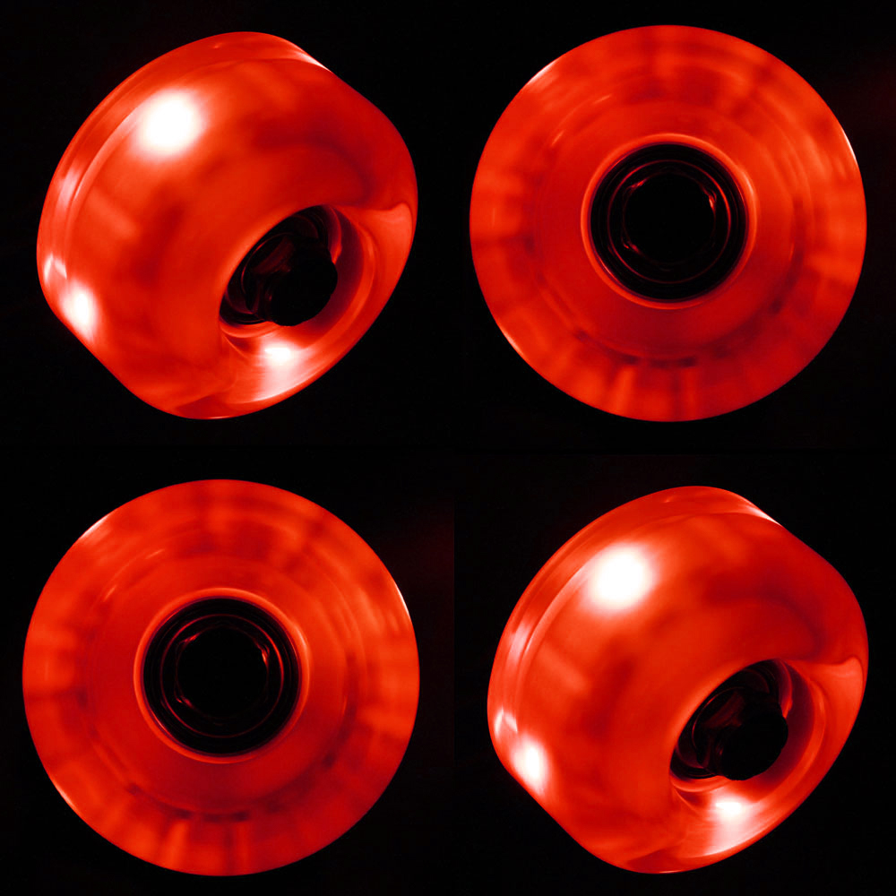 LED Skateboard Wheels 54mm RED Glow Cruiser Longboard LIGHTS + ABEC 9 BEARINGS