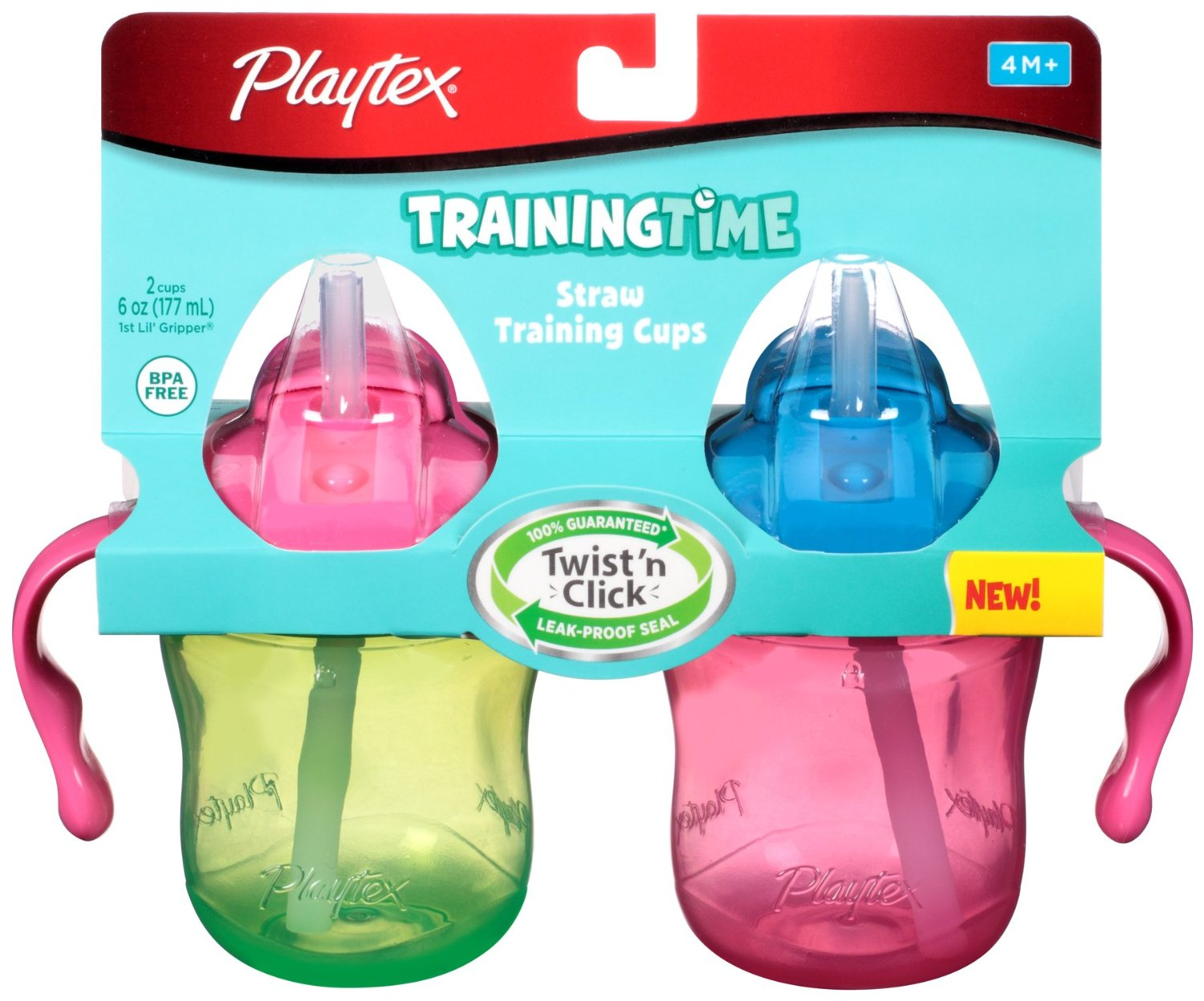 4 Pack Playtex Training Time Straw Cups, 6 Ounce, 2 Count (Colors may vary) Each by Playtex