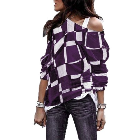Plate Printed - Women Off Shoulder Plaid Print Shirts Long Sleeve Loose Blouse Tops