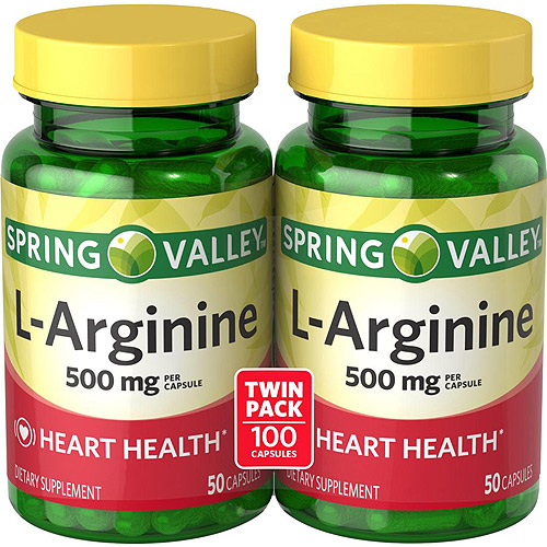 Spring Valley L-Arginine Dietary Supplement Capsules, 500 mg, 50 count, 2 pk