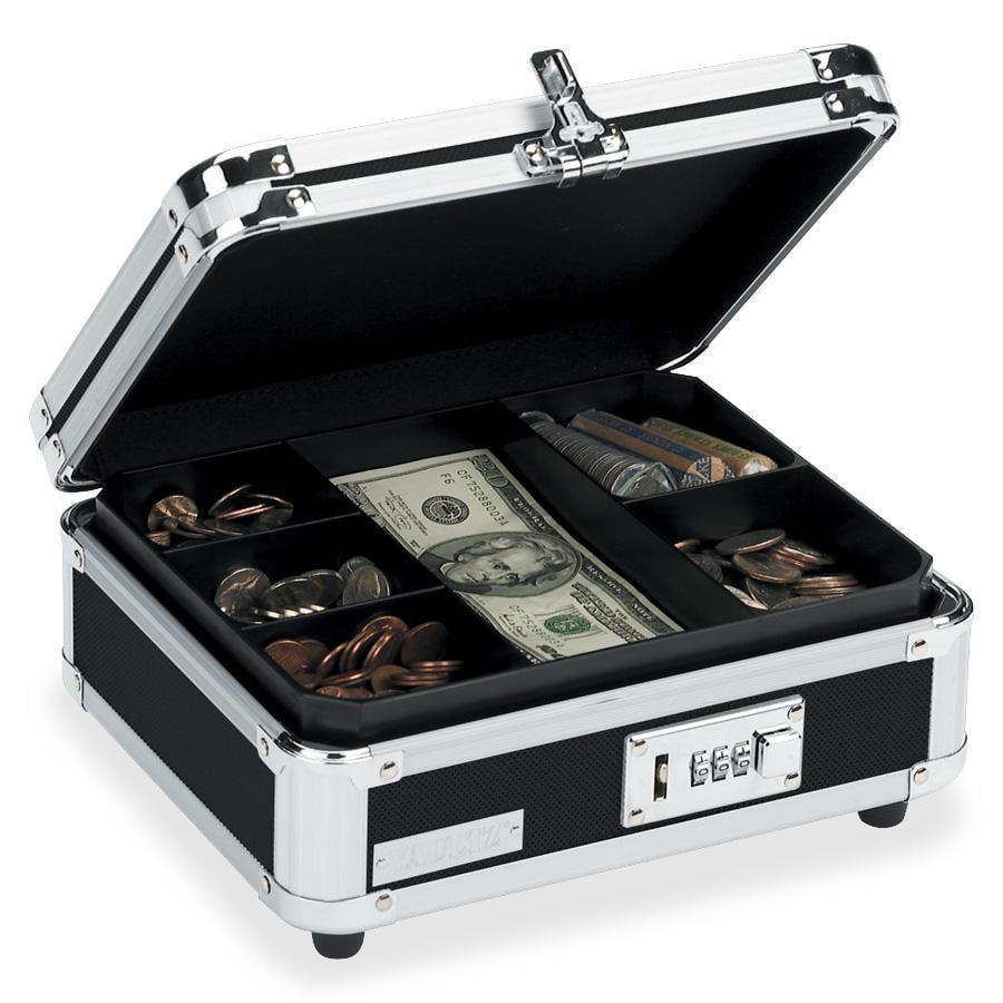 Vaultz Locking Cash Box, Chrome