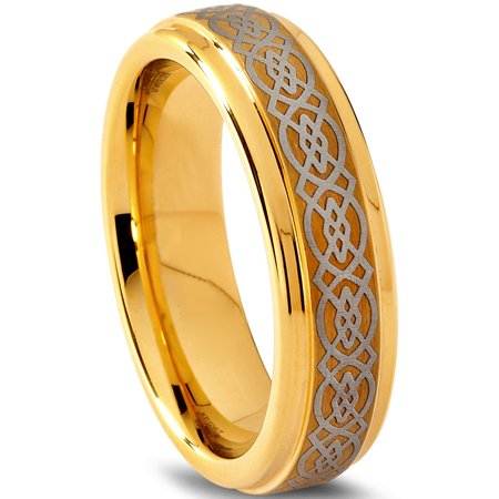 Tungsten Wedding Band Ring 6mm for Men Women Comfort Fit Celtic 18K Yellow Gold Plated Step Beveled Edge Brushed Polished Lifetime Guarantee - image 1 de 5