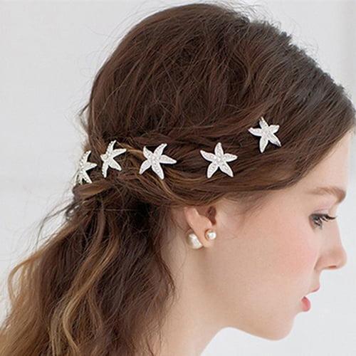 Girl12Queen 6 Pcs Starfish U Shape Braid Headwear Wedding Party Hairpin Hair Accessories