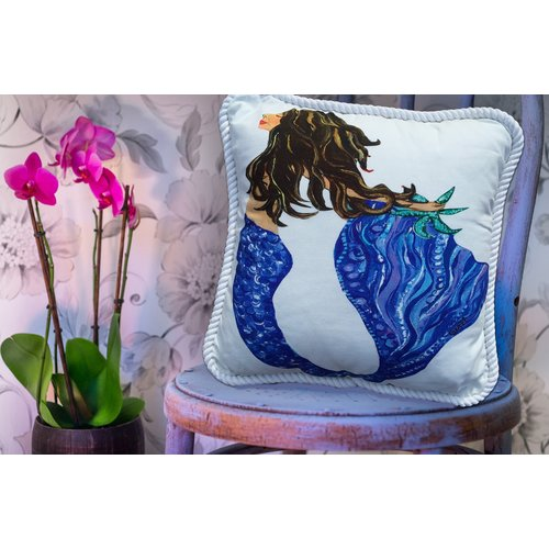 My Island Mermaid Brunette Throw Pillow