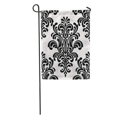 NUDECOR Pattern Damask Floral Silhouette Abstract Antique Black Blossom Brunch Garden Flag Decorative Flag House Banner 12x18 inch - image 1 de 2