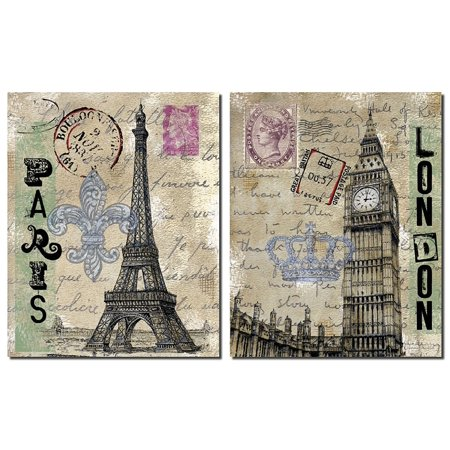 Vintage London Travel Set; Paris Eiffel Tower and London's Big Ben with Postcard Background; Two 11x14 Paper Prints ()