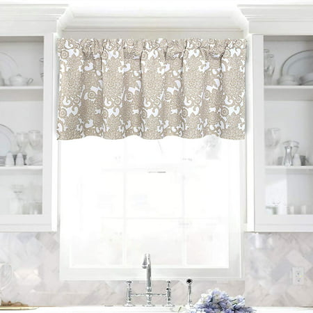 DriftAway Daisy Dahlia Blooming Flower/Floral Lined Thermal Insulated Energy Saving Window Curtain Valance for Living Room/Bedroom/Kitchen, 2 Layers, Rod Pocket, 52