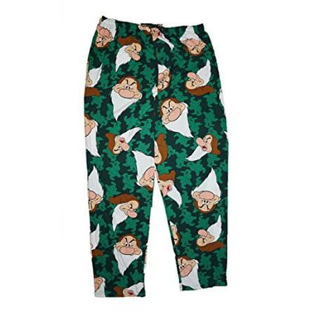 [P] Disney Grumpy Allover Print Mens Pajama Pant Green XL (Mens Disney Pajamas)