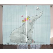 Elephant Nursery Decor Curtains 2 Panels Set, Elephant and Little Mouse Friendship Fun Art Hand Drawn Flowers, Window Drapes for Living Room Bedroom, 108W X 84L Inches, Multicolor, by Ambesonne