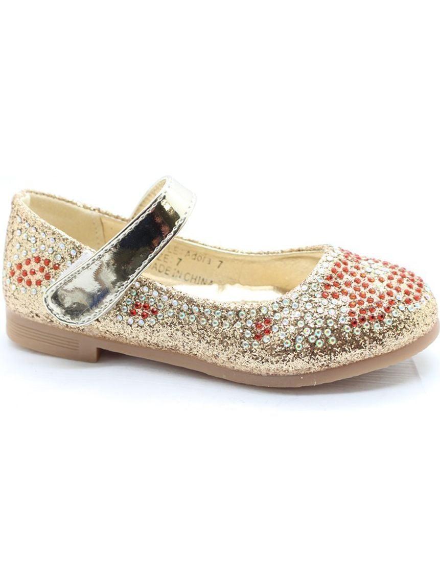 Little Girls Gold Red Glitter Rhinestone Mary Jane Dress Shoes