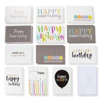 120-Count Happy Birthday Anniversary Cards Assortment with Envelopes Bulk Box Set Boxed Assorted Blank Card Value Pack 36 Colorful Designs with Handwritten Modern Design for Men Women Teen Boys Girls