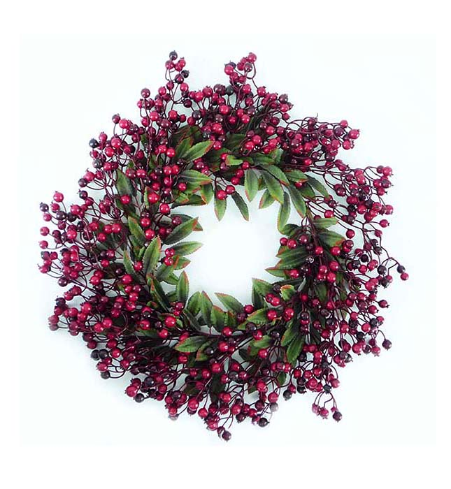"""20"""" Festive Red Berry and Holly Leaves Artificial Christmas Wreath - Unlit"""