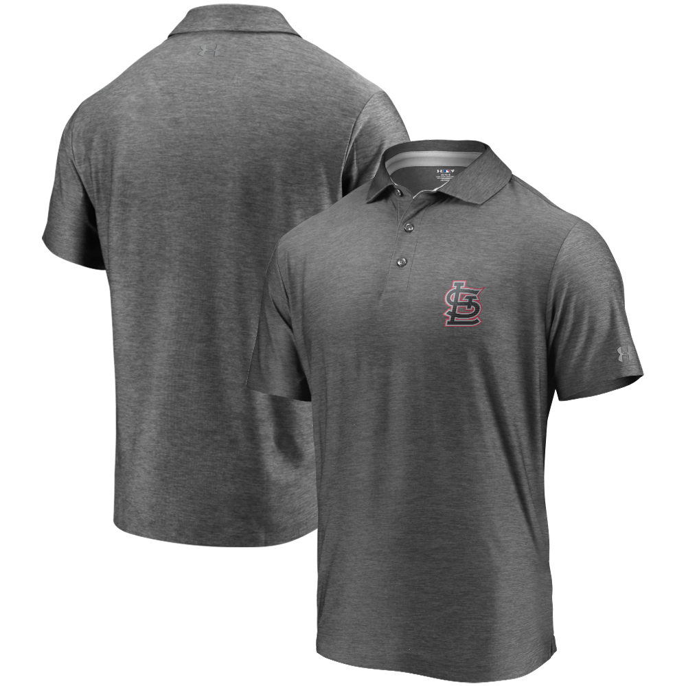 St. Louis Cardinals Under Armour Playoff Reflective Logo Performance Polo - Charcoal