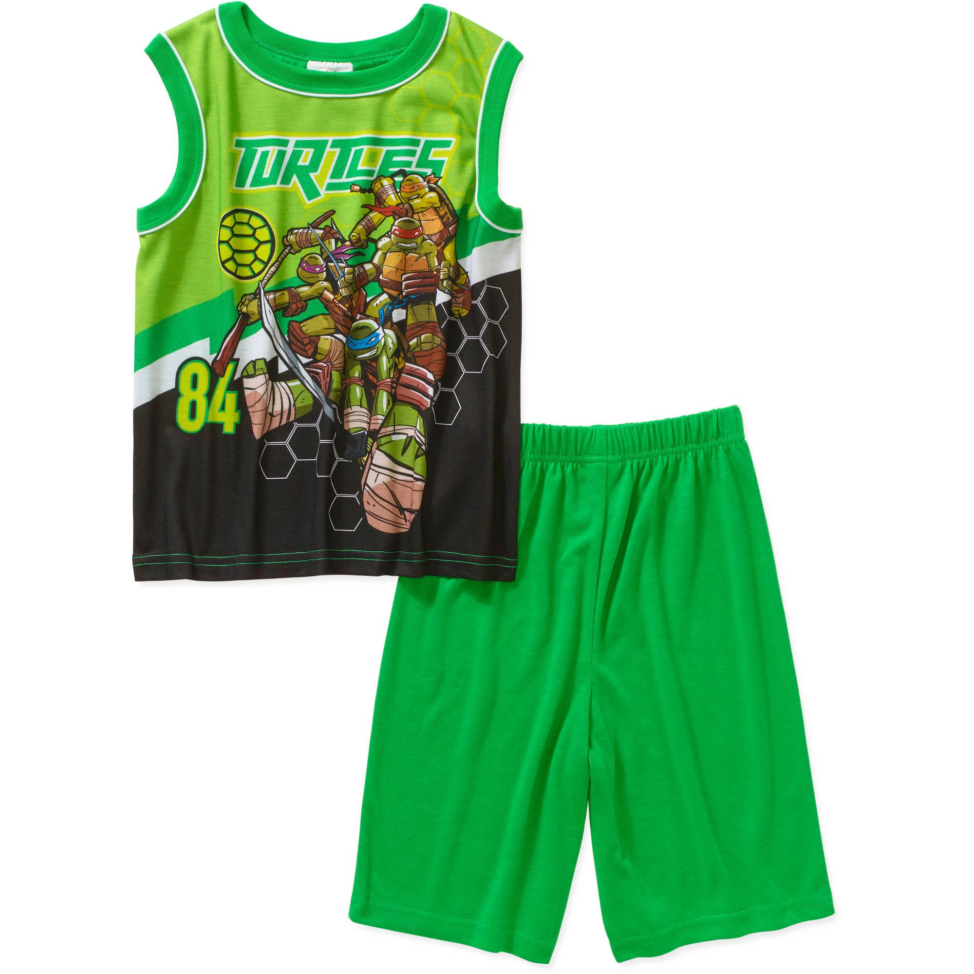 Teenage Mutant Ninja Turtles Boys' License Muscle Sleep Shirt and Short 2 Piece Pajama Set