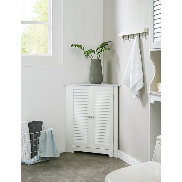 Trevita Corner Bathroom Storage Floor Cabinet Organizer With Adjustable Shelf White Marble Wood Contemporary Walmart Com Walmart Com