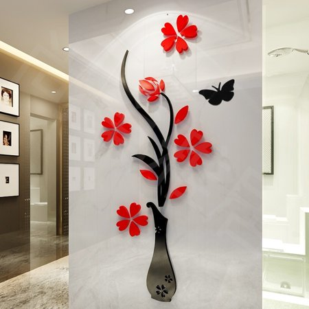 DIY Flower D Wall Sticker Relief Beautiful Mirror Wall Decals - Wall decals mirror