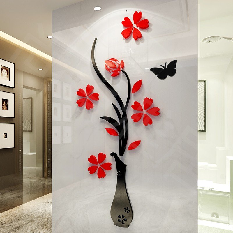 DIY Flower 3D Wall Sticker Relief Beautiful Mirror Wall Decals Stickers Art  Home Room Vinyl Decor Part 43