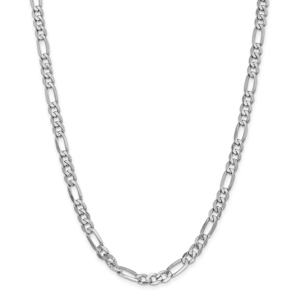 """14K White Gold 6.0mm Flat Figaro Necklace Chain -18"""" (18in x 6mm) by"""