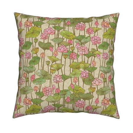 Optional Product Cover - Lotus Lotus Pink Green Vintage Throw Pillow Cover w Optional Insert by Roostery