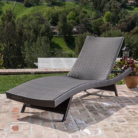 Outdoor Wicker Chaise Lounge with Aluminum Frame, Mixed