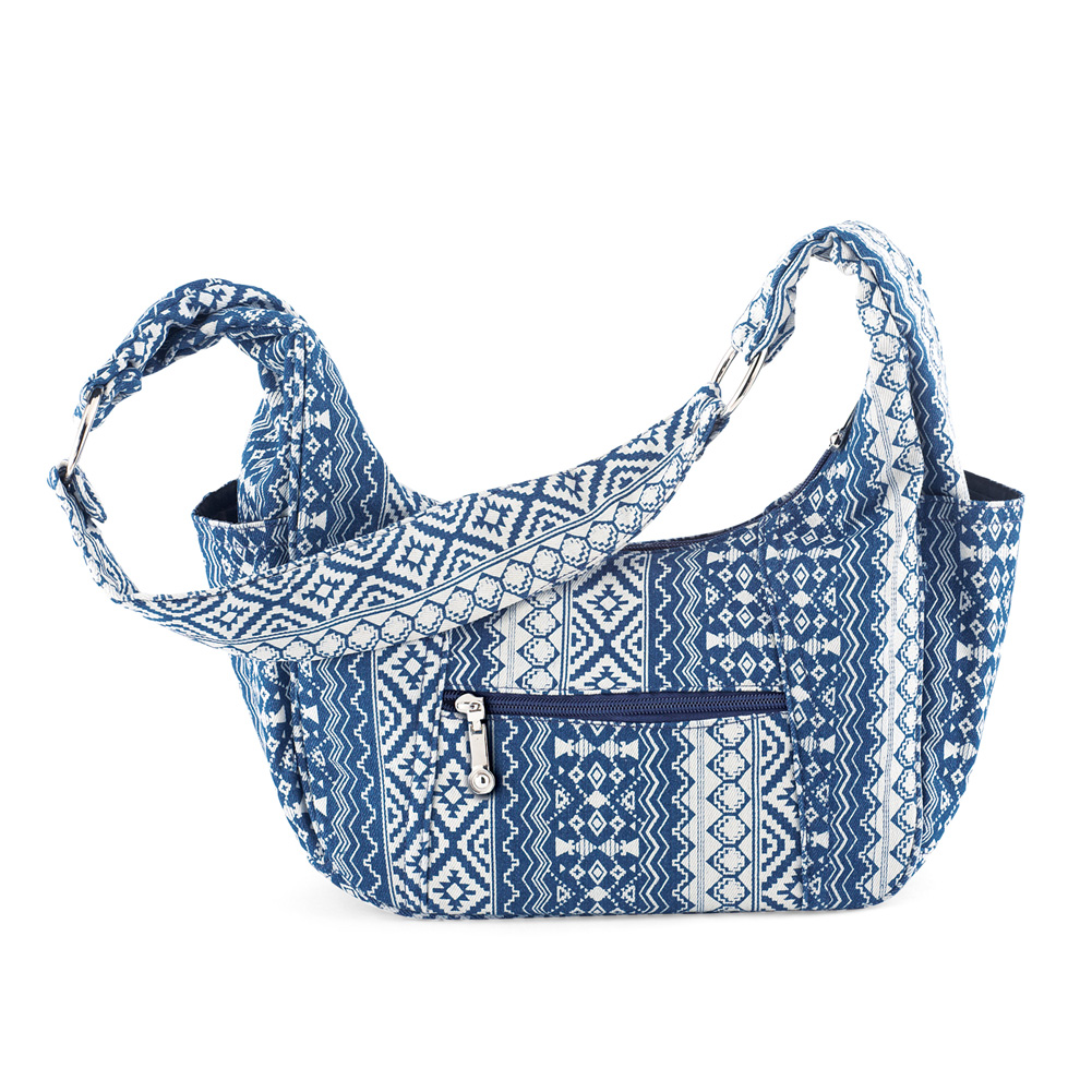 Women's Aztec Print Denim Shoulder Bag Purse with Pockets, Lined