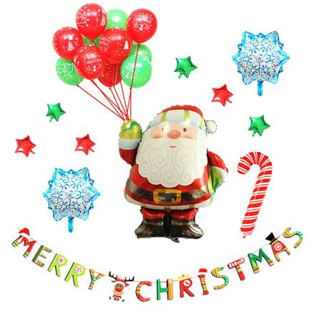 DIY Aluminum Film Balloon Set Merry Christmas Banner Home Decoration Santa](Merry Christmas Lights Banner)
