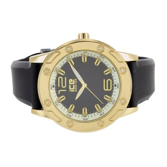 Black Dial Mens Watch Rubber Silicone Black Band 14k Gold Tone 2 Tone Party Wear