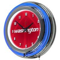 NBA Chrome Double Rung Neon Clock - Fade - Washington Wizards