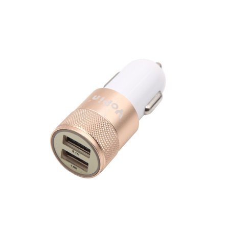 Rose Cigarette - DC 12V 24V Car Dual USB Port Charger Cigarette Lighter Socket Adapter Rose Gold Tone