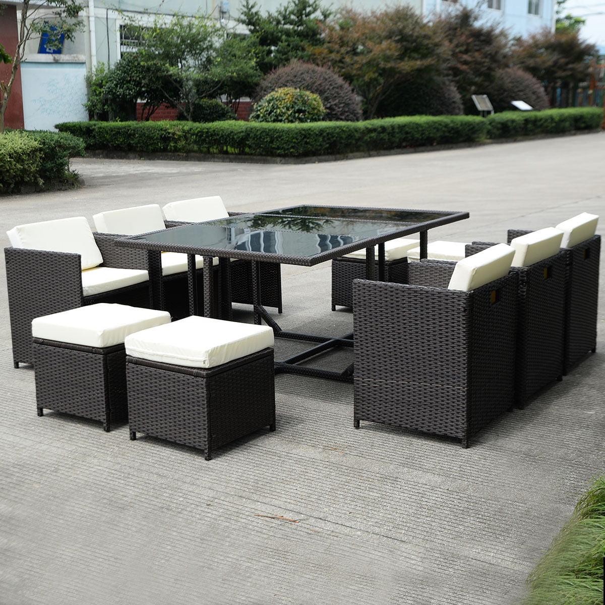 Costway 11 PCS Outdoor Patio Dining Set Metal Rattan Wicker Furniture  Garden Cushioned   Walmart.com