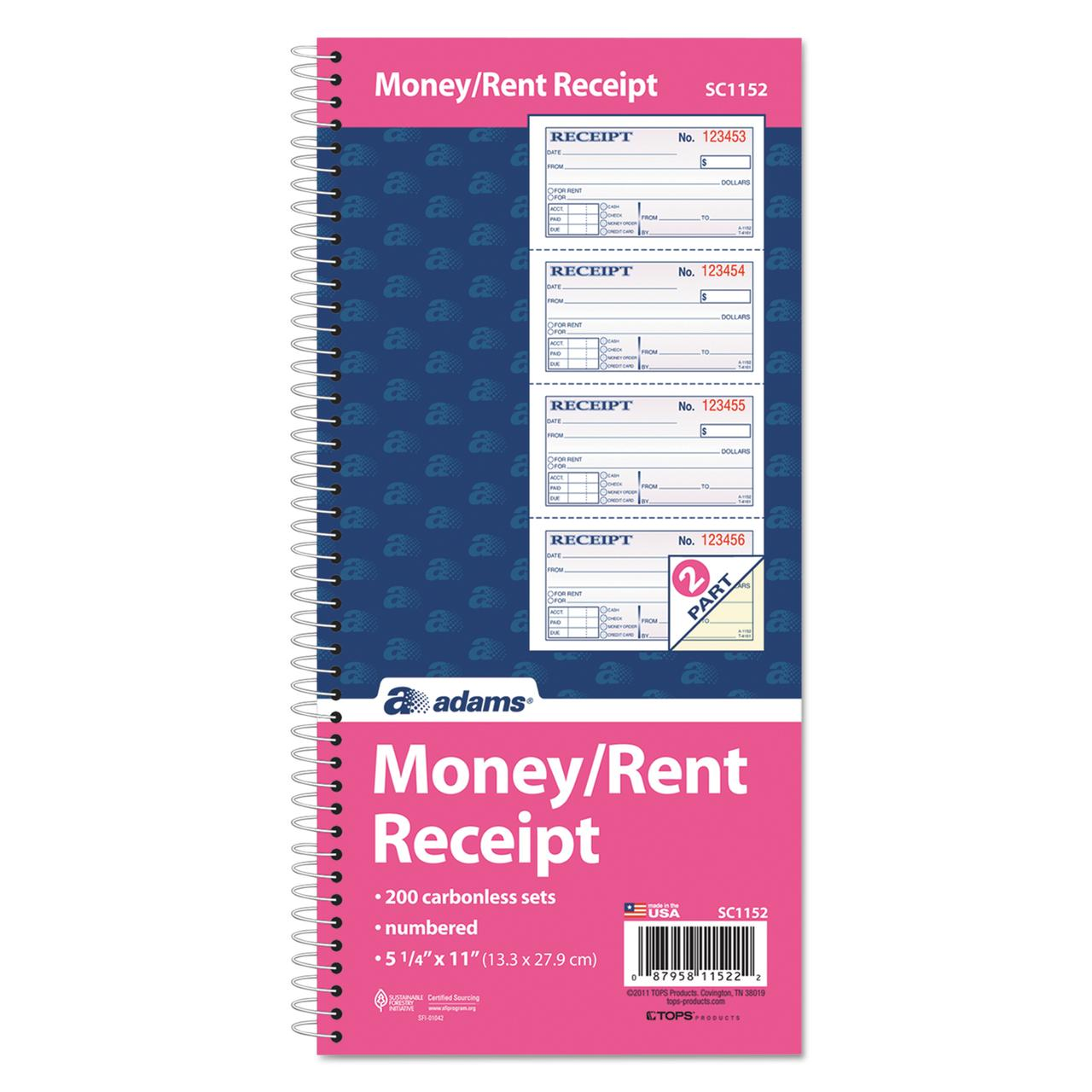 Adams TwoPart Rent Receipt Book 2 34 x 4 34 Carbonless 200 – Where Can I Buy Rent Receipts