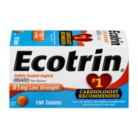 Ecotrin Low Strength Safety Coated Aspirin, NSAID, 81mg, 150 Tablets