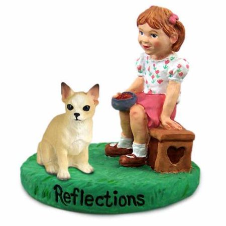 RGD06B Chihuahua Tan & White Reflections w/Girl Figurine
