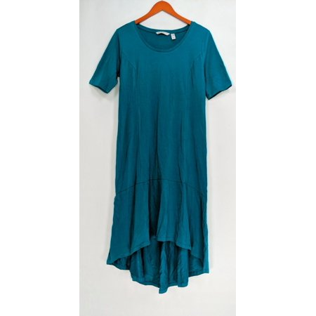 Isaac Mizrahi Live! Petite Dress PS Elbow Sleeve Knit Dark Teal Green A308002