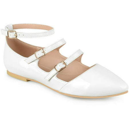 Womens Buckle Faux Patent Strappy Flats (Black And White Patent Leather Air Force Ones)