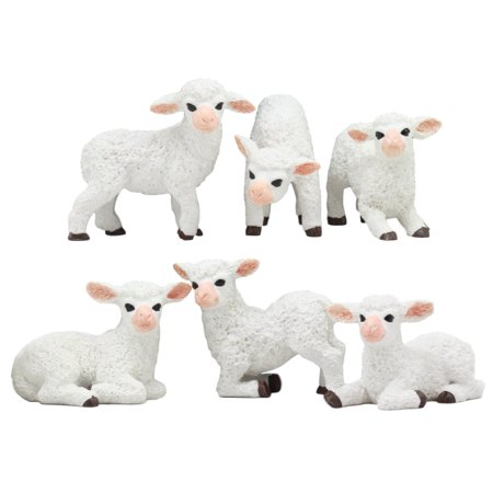 - Ebros Adorable Six Little Lambs Statue Set 3