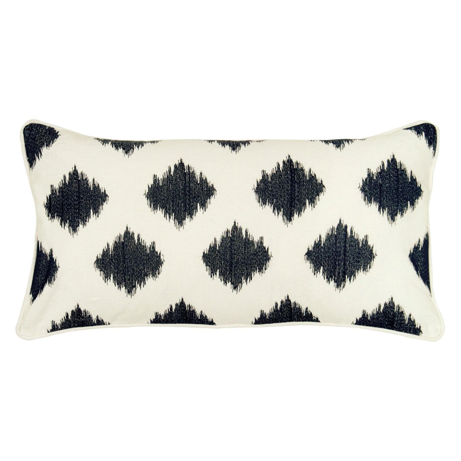 """Rizzy Home fractured ogee embroidered11"""" x 21""""Cotton decorative filled pillow"""