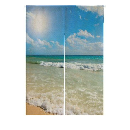 GCKG Beach Japanese Noren Curtain,Summer Beach Blue Sea Palm Tree Sunshine Doorway Curtain Door Curtain Entrance Curtain Cotton Linen Curtain Size 85x120cm](Beaded Curtains For Doorways)