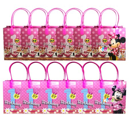 1st Birthday Party Loot Bags - Disney Minnie Mouse 1st Birthday Party Loot Bags Birthday Goody Fun Gift Bag 12pack