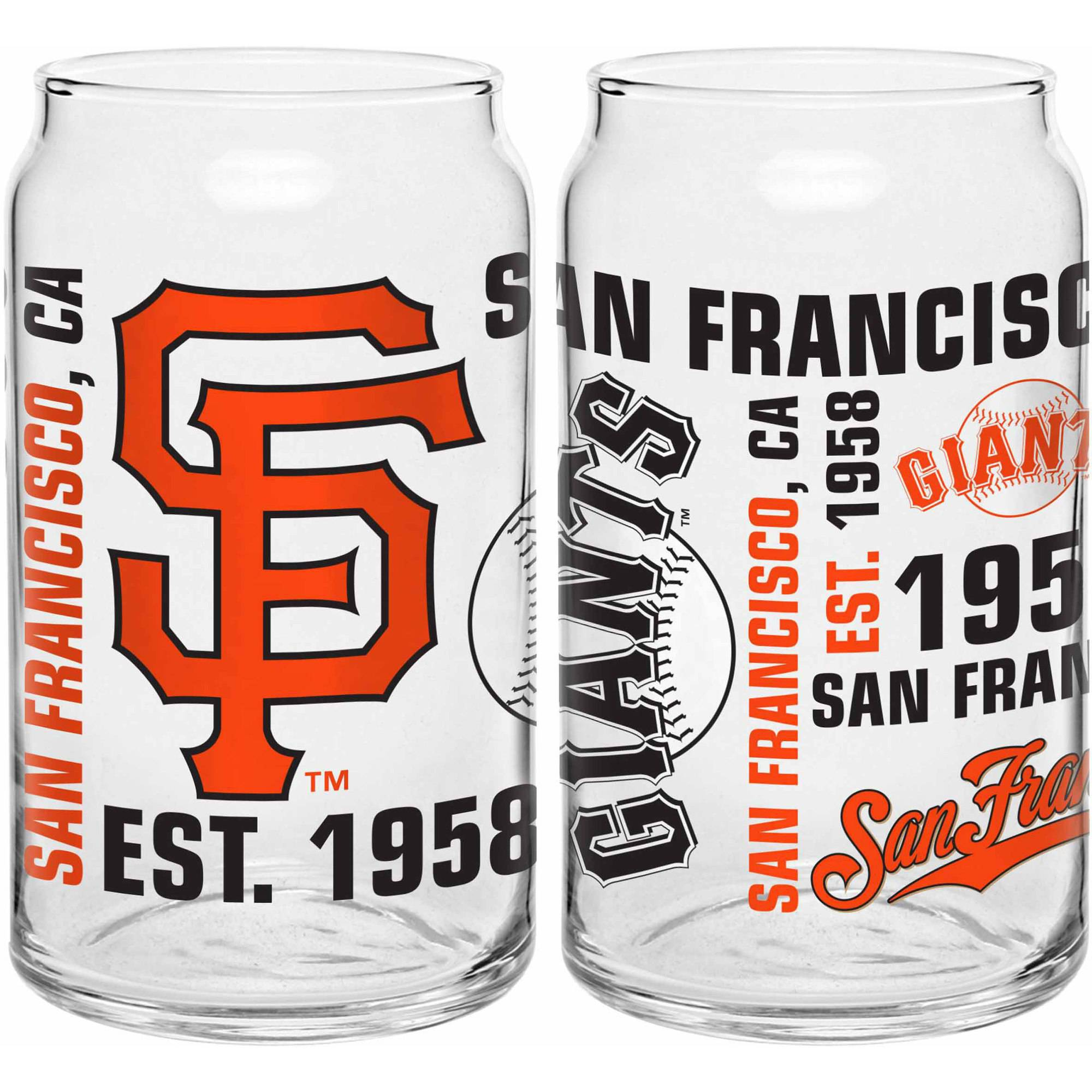 Boelter Brands MLB Set of Two 16 Ounce Spirit Glass Can Set, San Francisco Giants