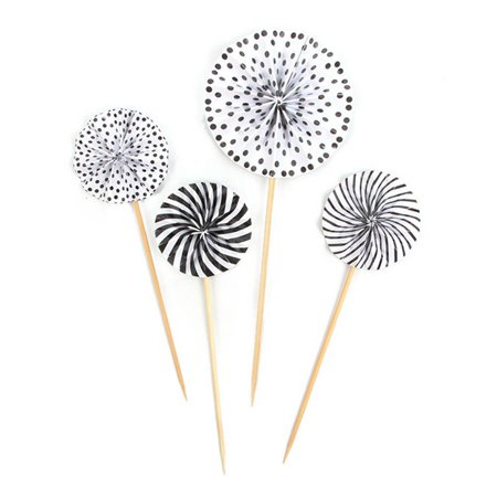 Sunflower Cupcake Toppers (KABOER 4Pcs/set Mini Paper Fan Cake Topper Gold Silver Folding Sunflower Cupcake Toppers Birthday Party DIY Decoration Wedding)