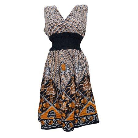 Cotton Peasant Dress - Mogul Women's Peasant Dress V-neck Floral Printed Cotton Beach Dresses
