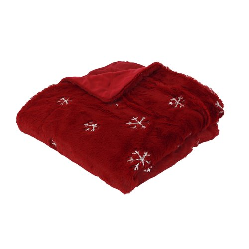 The Holiday Aisle Dewitt Sequin Snowflake Embroidered Faux Fur Throw
