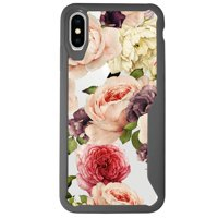 """MINITURTLE Case Compatible with Apple iPhone XS MAX 6.5"""" (2018 Edition) [Floral Print Case] [ARMOR FLEX SERIES] Clear and Gray TPU Bumper Case - Watercolor Roses"""