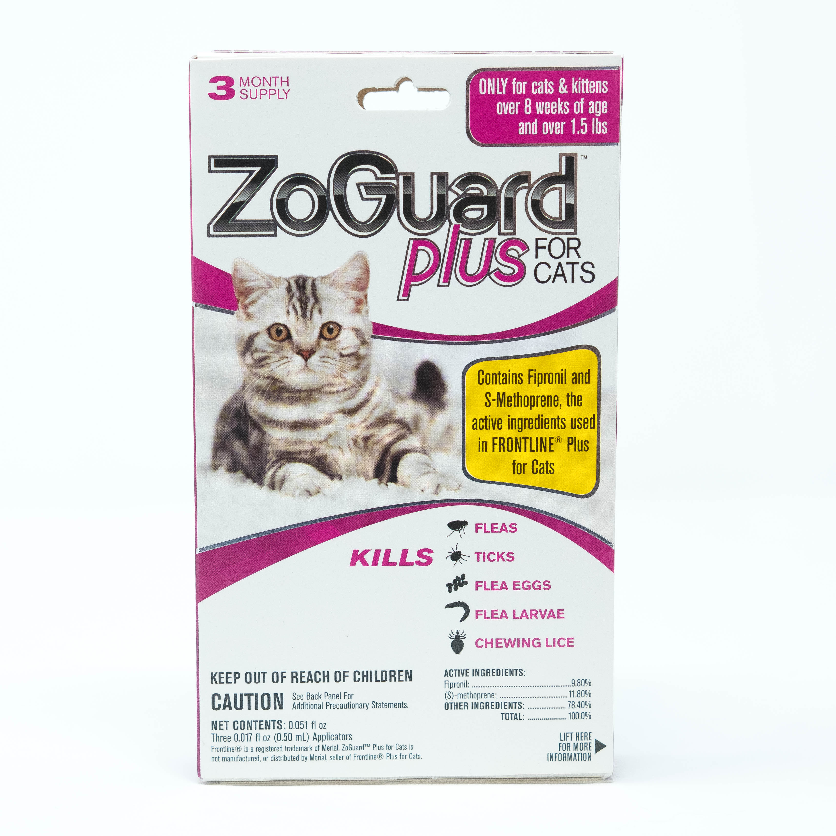 ZoGuard Plus Flea and Tick Prevention for Cats, 3 Months Protection