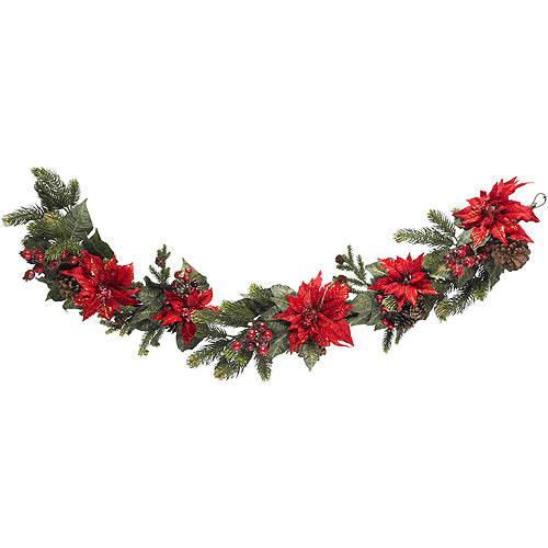 Poinsettia and Berry Garland