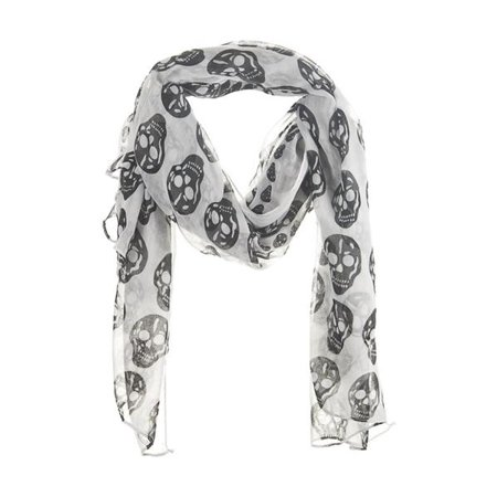 Ganz Halloween Skull Scarf  Large Black and White Neck Scarf