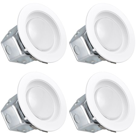 White Recessed Downlight (Luxrite 4 Inch LED Recessed Light with Junction Box, 10W, 2700K Warm White, Dimmable Airtight Downlight, 700lm, Energy Star, IC & Wet Rated, 120V - 277V, Recessed Lighting Kit (4 Pack) )