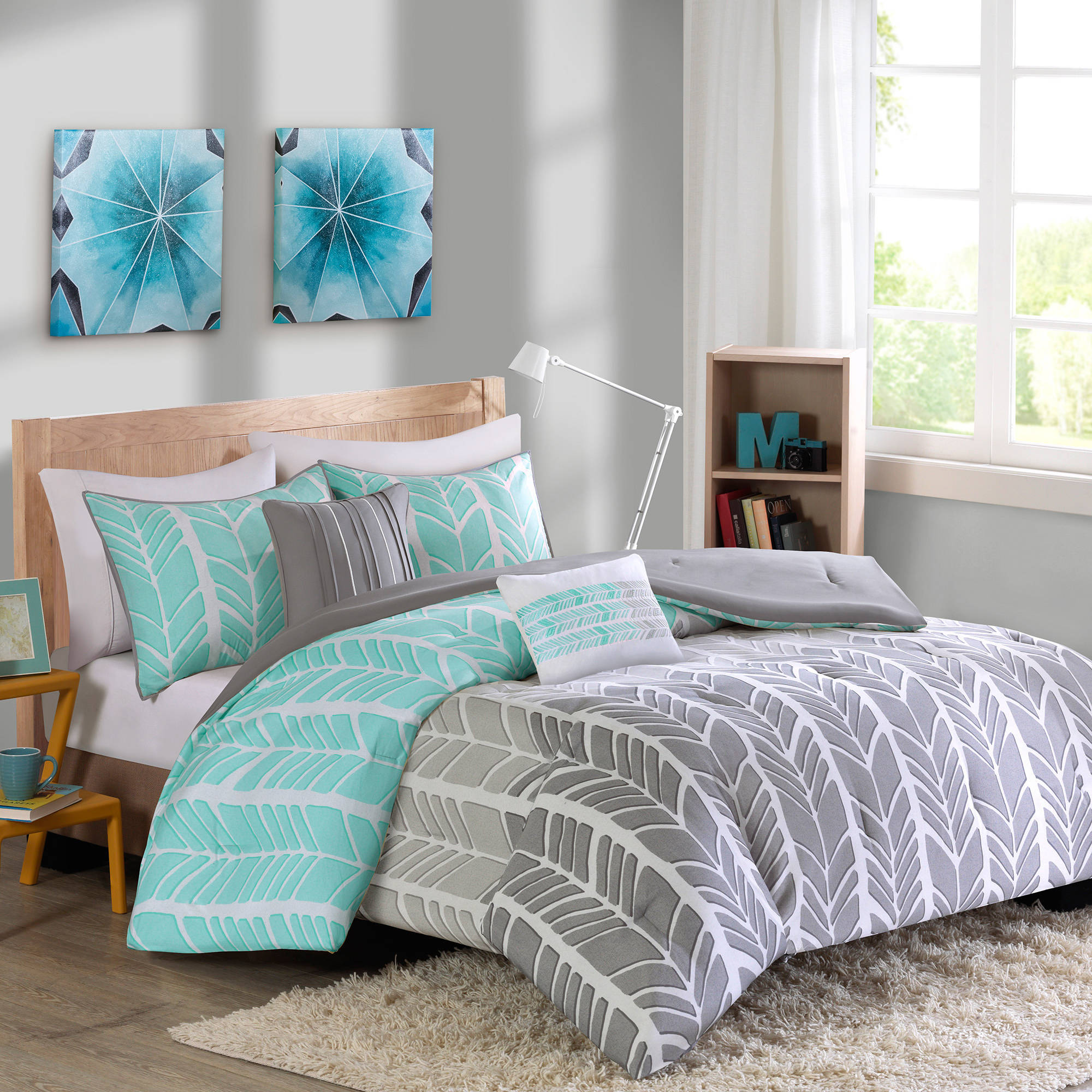 bedding piece aqua metallic khloe printed frame from brilliant interior hotel collection twin silver intended popular xl for intelligent embroidered created comforter design grey