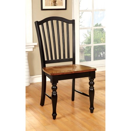 Furniture of America Nancy Country Two-Tone Dining Chair, Black/Antique Oak, -